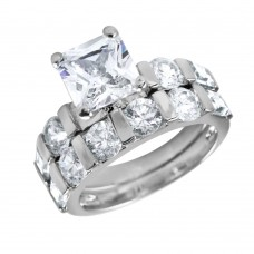 Wholesale Sterling Silver 925 Rhodium Plated Clear CZ Square Ring - BGR00093