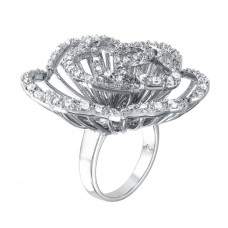 **Closeout** Wholesale Sterling Silver 925 Rhodium Plated Clear CZ Rose Flower Ring - BGR00311WHT