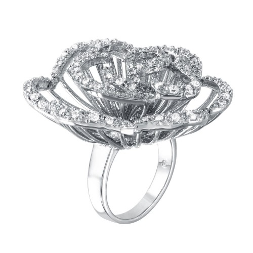 -Closeout- Wholesale Sterling Silver 925 Rhodium Plated Clear CZ Rose Flower Ring - BGR00311WHT