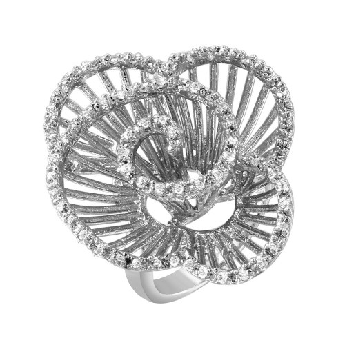 -Closeout- Wholesale Sterling Silver 925 Rhodium Plated Clear CZ Twirly Flower Ring - BGR00314RH