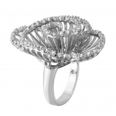 **Closeout** Wholesale Sterling Silver 925 Rhodium Plated Clear CZ Twirly Flower Ring - BGR00314WHT