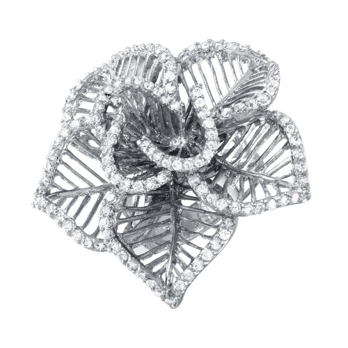-Closeout- Wholesale Sterling Silver 925 Rhodium Plated Clear CZ Open Flower Ring - BGR00316WHT