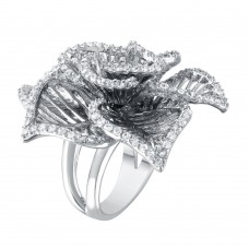 **Closeout** Wholesale Sterling Silver 925 Rhodium Plated Clear CZ Open Flower Ring - BGR00316WHT