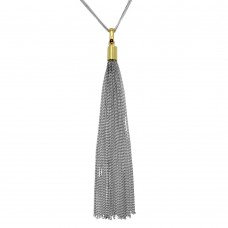 Wholesale Sterling Silver 925 Gold Plated Double Strand Chain with Dangling Tassel - ITN00102RH-GP