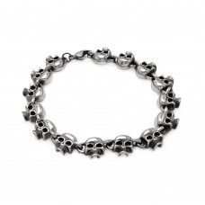 Wholesale Stainless Steel Small and Polished Skull Head Link Bracelet - SSB00184