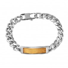 Wholesale Stainless Steel Gold Cabled ID and Curve Chain Bracelet - SSB00257GP