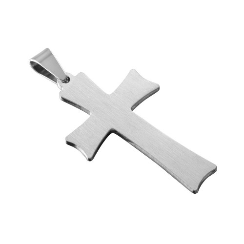 Wholesale Stainless Steel Two Tone Double Cross Prayer Charm Pendant - SSP00456