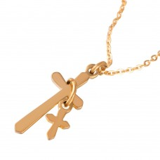 Wholesale Stainless Steel Gold Plated Cross and Charm Necklace - SSP00480GP