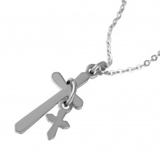 Wholesale Stainless Steel Cross and Charm Necklace - SSP00480