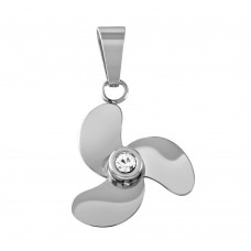 Wholesale Stainless Steel Propeller Crystal Charm Pendant - SSP00487