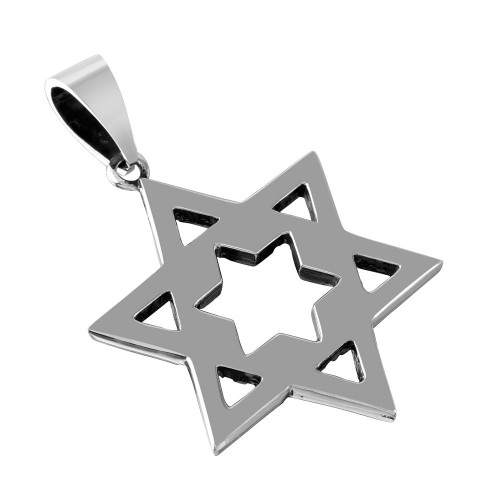 Wholesale Stainless Steel Polished Star of David Charm Pendant - SSP00500