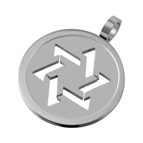 Wholesale Stainless Steel Star of David Silhouette Round Charm Pendant - SSP00503