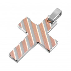 Wholesale Stainless Steel Two Tone Rose Gold Striped Cross - SSP00505
