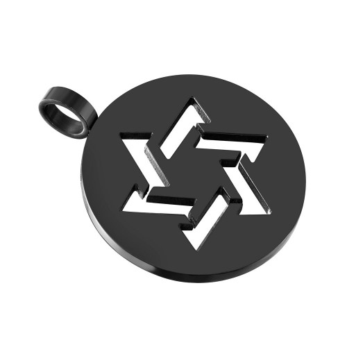 Wholesale Stainless Steel Black Rhodium Plated Star of David Silhouette Round Charm Pendant - SSP00503BLK