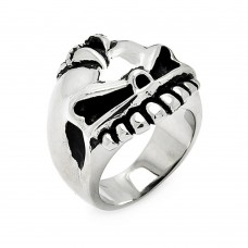 Wholesale Men's Stainless Steel Skull Face Ring - SRN048