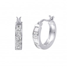 Wholesale Sterling Silver 925 Rhodium Plated Hoop Square CZ Earrings - STE00732