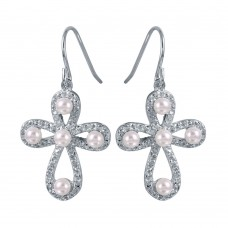 Wholesale Sterling Silver 925 Rhodium Plated Rounded Textured Cross Earrings with Synthetic Pearls - STE00969