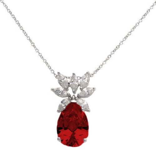 Wholesale Sterling Silver 925 Rhodium Plated Clear CZ and Red Pear CZ Pendant Necklace - STP00941RED
