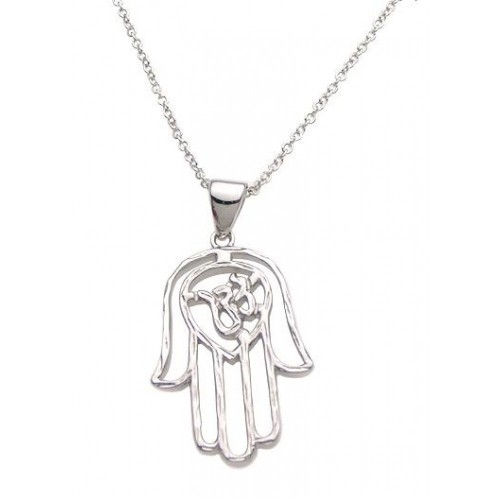 Wholesale Sterling Silver 925 Rhodium Plated Hamsa Pendant Necklace - STP00973