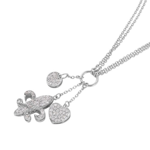 **Closeout** Wholesale Sterling Silver 925 Rhodium Plated Double Chained Fleur de Lis Pendent with Charms and CZ Accents - STP01022