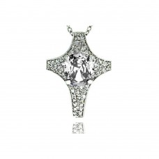 **Closeout** Sterling Silver Clear CZ Rhodium Plated Cross Pendant Necklace - BGP00009CLR
