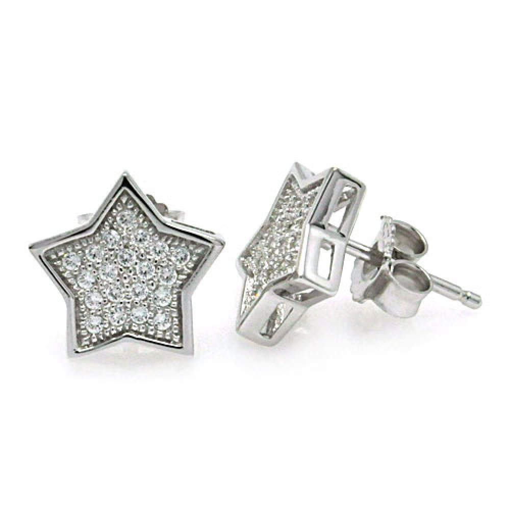Wholesale Sterling Silver 925 Rhodium Plated Micro Pave Clear Star CZ Stud Earrings - ACE00037