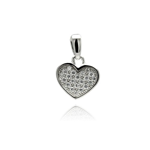 Wholesale Sterling Silver 925 Rhodium Plated Heart CZ Dangling Pendant - ACP00025