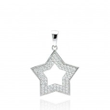 ***CLOSEOUT*** Wholesale Sterling Silver 925 Rhodium Plated Open Heart CZ Dangling Pendant - ACP00027