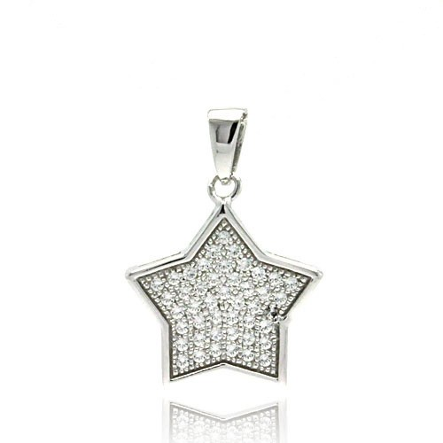 -CLOSEOUT- Wholesale Sterling Silver 925 Rhodium Plated Star CZ Inlay Dangling Pendant - ACP00043