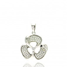 Wholesale Sterling Silver 925 Rhodium Plated Micro Pave Clear CZ Flower Pendant - ACP00054