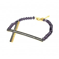 Wholesale Sterling Silver 925 Black and Gold Plated Sideways Cross CZ Black Pearl Bracelet - BGB00088