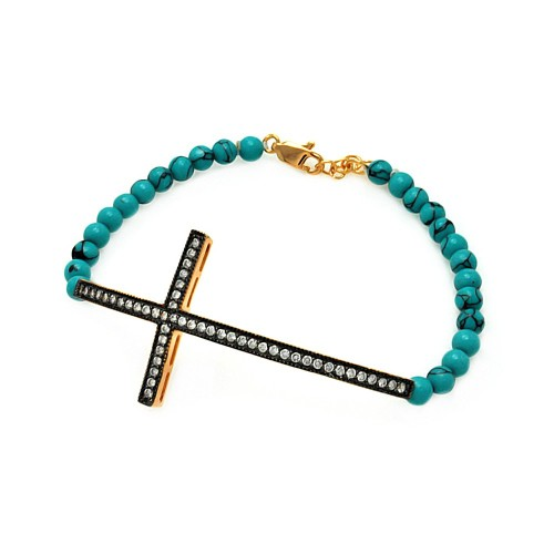 Wholesale Sterling Silver 925 Gold and Black Rhodium Plated Sideways Cross CZ Turquoise Beads Bracelet - BGB00104