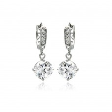 Wholesale Sterling Silver 925 Rhodium Plated Round Channel CZ Dangling Huggie Earrings - BGE00263