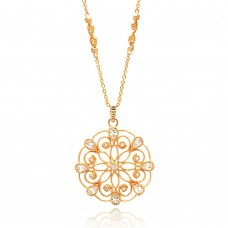 Wholesale Sterling Silver 925 Rose Gold Plated Open Circle Flower Design CZ Necklace - BGP00652