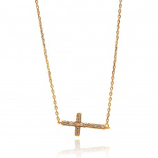 Wholesale Sterling Silver 925 Rose Gold Plated Sideways Cross CZ Necklace - BGP00672