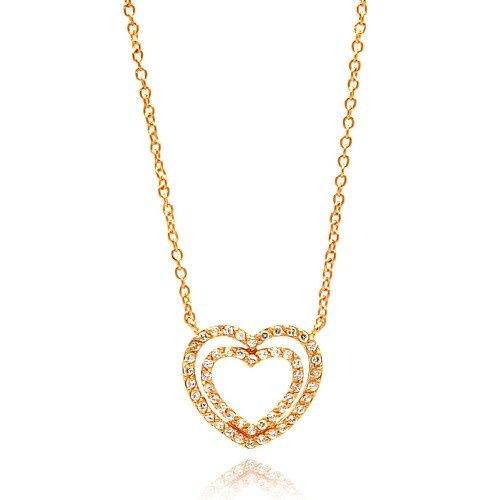 Wholesale Sterling Silver 925 Rose Gold Plated Open Heart CZ Necklace - BGP00692RGP