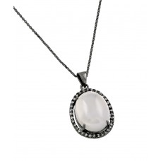 ***CLOSEOUT*** Sterling Silver Black Rhodium Plated CZ Center Pearl Necklace - BGP00708