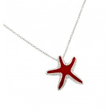 Sterling Silver Rhodium Plated Clear CZ Red Star Fish Whale Pendant Necklace - BGP00851