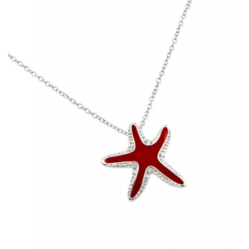 Wholesale Sterling Silver 925 Rhodium Plated Clear CZ Red Star Fish Whale Pendant Necklace - BGP00851
