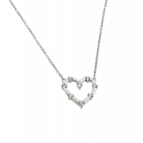 Wholesale Sterling Silver 925 Rhodium Plated Clear CZ Stone Heart Pendant Necklace - BGP00866