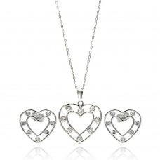 Wholesale Sterling Silver 925 Rhodium Plated Clear Open Outline Heart CZ Stud Earring and Dangling Necklace Set - BGS00262