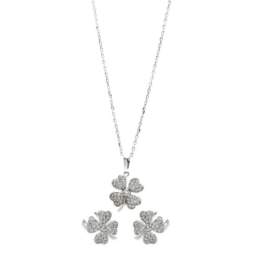 Wholesale Sterling Silver 925 Rhodium Plated Clear Mini Clover CZ Stud Earring and Necklace Set - BGS00291