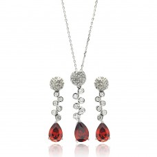 Wholesale Sterling Silver 925 Rhodium Plated Red Teardrop Clear Round CZ Hanging Stud Earring and Hanging Necklace Set - BGS00295