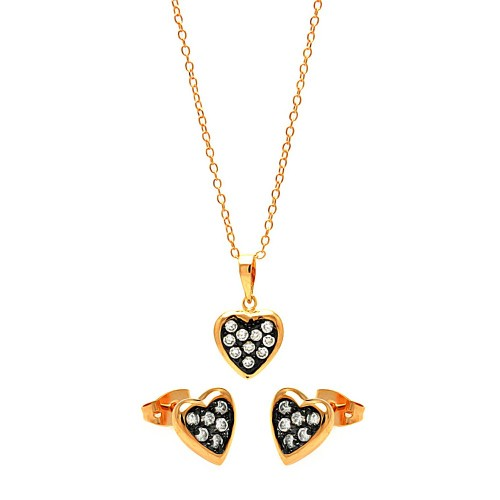 -Closeout- Wholesale Sterling Silver 925 Black Rhodium and Gold Plated Clear Mini Heart CZ Stud Earring and Necklace Set - BGS00312