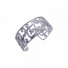 Wholesale Sterling Silver 925 Rhodium Plated Open Micro Pave CZ Bracelet - BGG00002