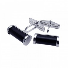 Sterling Silver Rhodium Plated Black Onyx Cufflinks stf0001