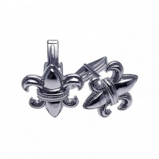 Wholesale Men's Sterling Silver 925 Rhodium Plated Fleur De Lis Crest Cufflinks - STF0002