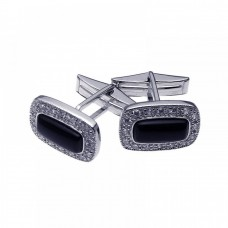 Men's Rhodium Plated Brass Black Onyx Center Clear CZ Cufflinks stf0003