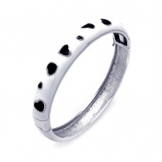 Wholesale Sterling Silver 925 Rhodium Plated White Enamel Heart Design CZ Bangle Bracelet - BGG00026