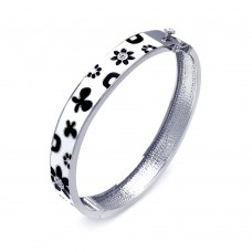 Wholesale Sterling Silver 925 Rhodium Plated White Enamel Flower Design CZ Bangle Bracelet - BGG00027